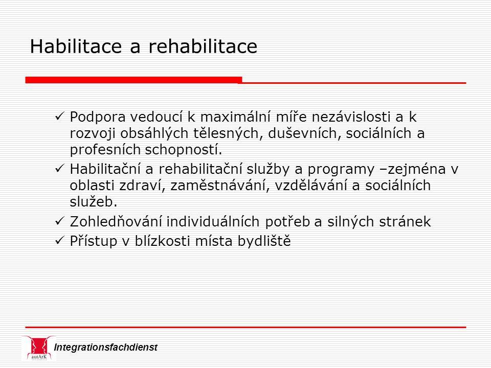 Integrationsfachdienst Habilitace a rehabilitace Podpora vedoucí k maximální míře nezávislosti a k rozvoji obsáhlých tělesných, duševních, sociálních a profesních schopností.