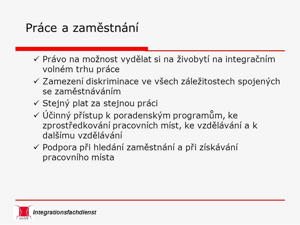 Integrationsfachdienst Práce a zaměstnání Právo na možnost vydělat si na živobytí na integračním volném trhu práce Zamezení diskriminace ve všech zále