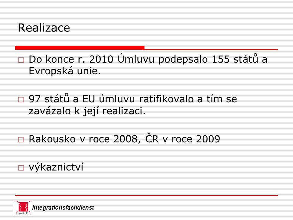 Integrationsfachdienst Realizace  Do konce r. 2010 Úmluvu podepsalo 155 států a Evropská unie.  97 států a EU úmluvu ratifikovalo a tím se zavázalo