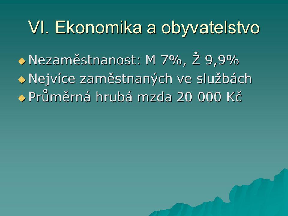 VI. Ekonomika a obyvatelstvo  Nezaměstnanost: M 7%, Ž 9,9%  Nejvíce zaměstnaných ve službách  Průměrná hrubá mzda 20 000 Kč