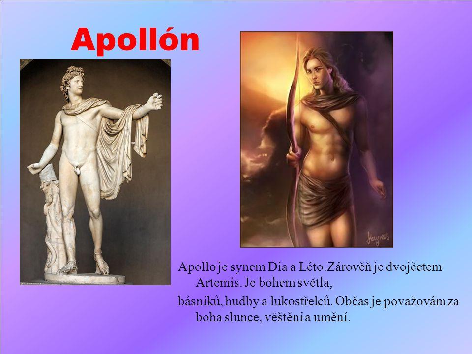 Áres Áres je syn Dia a Héry. Je bohem války a krveprolití. S Afroditou, nevlastní dcerou, měl syna Erota, anděla lásky.