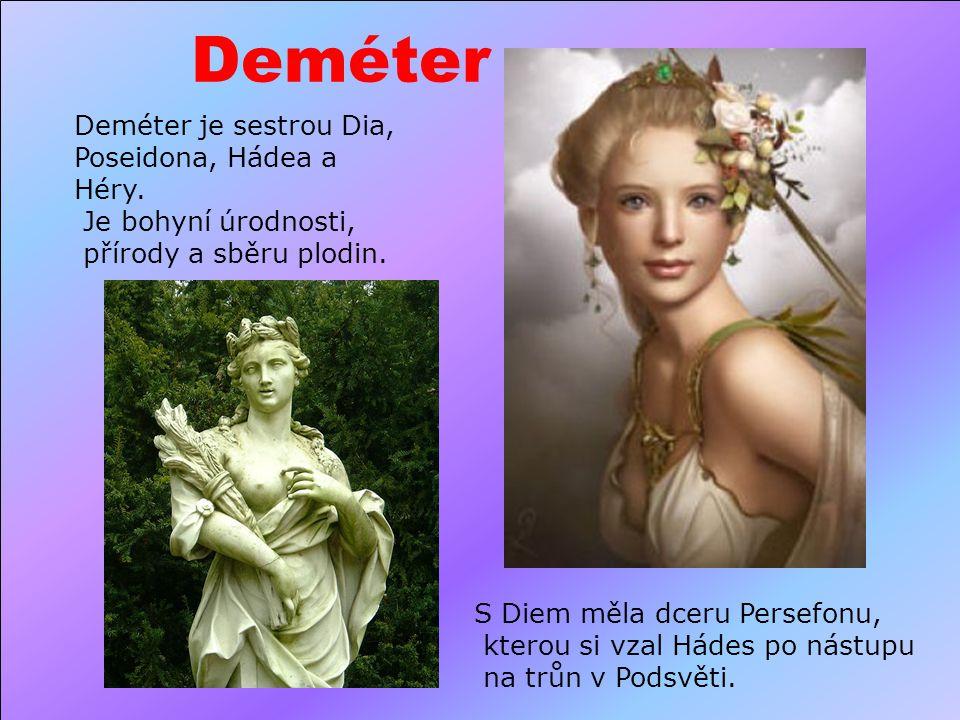 Artemis Bohyně měsíce, ochránkyně přírody a zvěře, vášnivá lovkyně. Podle legend rozumí řeči zvířat. Artemis je dcerou boha Dia a titánky Léto.