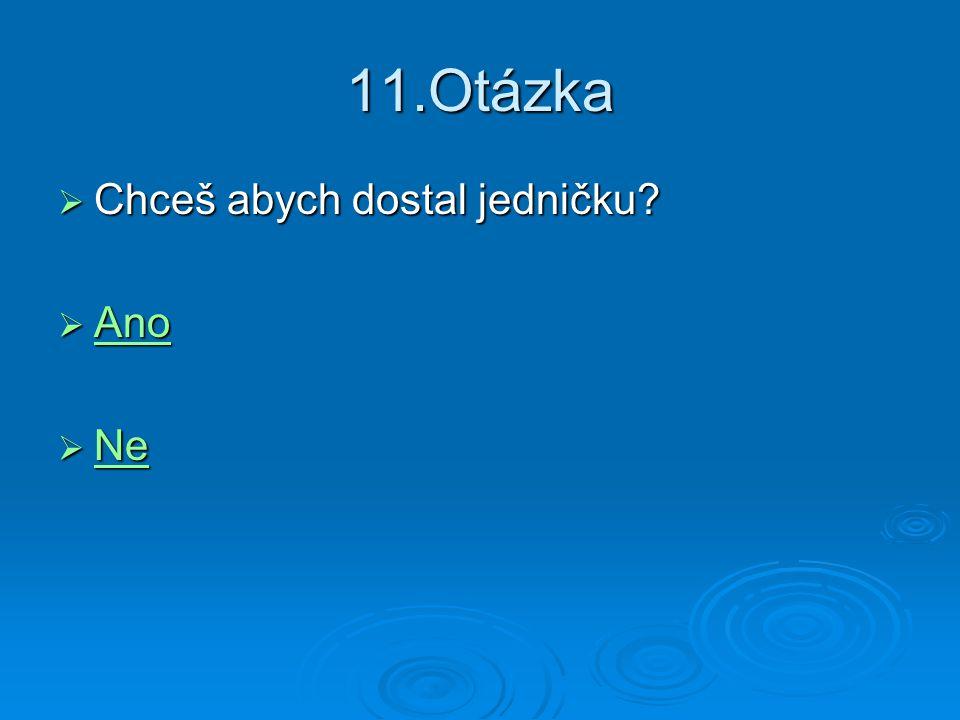 11.Otázka  Chceš abych dostal jedničku?  Ano Ano  Ne Ne
