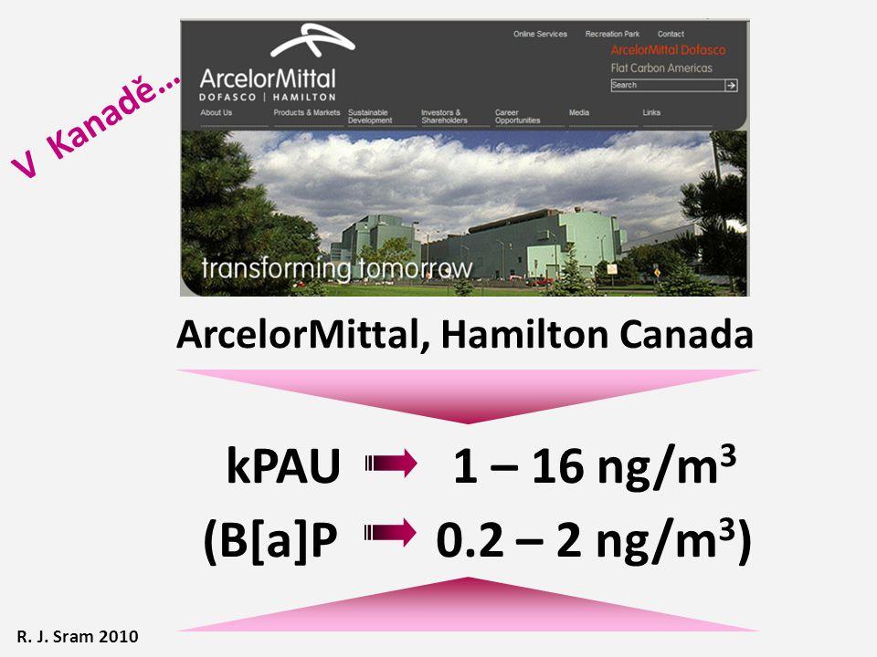 ArcelorMittal, Hamilton Canada kPAU 1 – 16 ng/m 3 (B[a]P 0.2 – 2 ng/m 3 ) R. J. Sram 2010 V Kanadě…