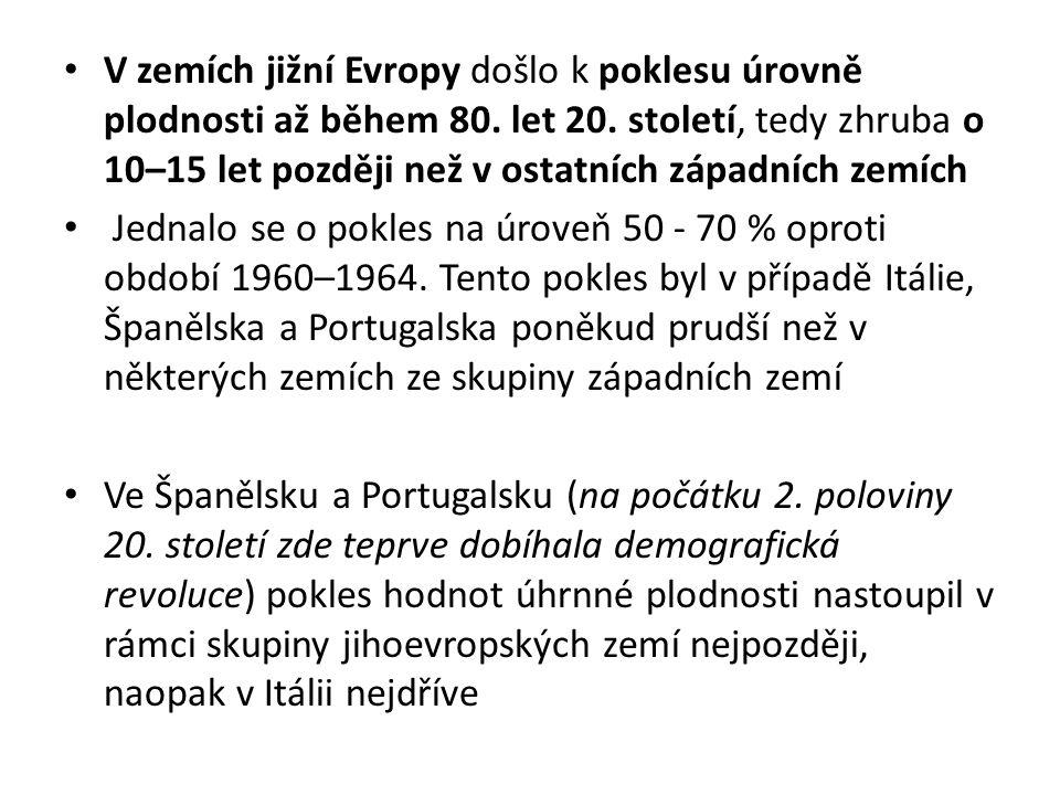 V zemích jižní Evropy došlo k poklesu úrovně plodnosti až během 80. let 20. století, tedy zhruba o 10–15 let později než v ostatních západních zemích
