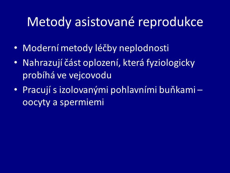 Metody asistované reprodukce Moderní metody léčby neplodnosti Nahrazují část oplození, která fyziologicky probíhá ve vejcovodu Pracují s izolovanými pohlavními buňkami – oocyty a spermiemi