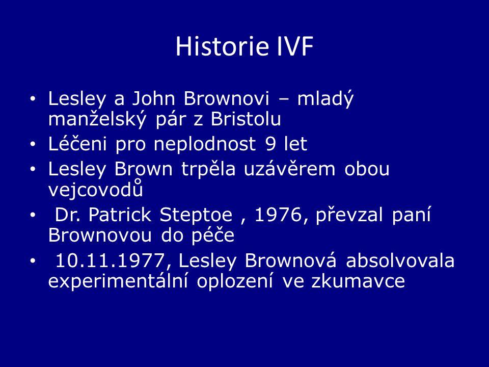 Historie IVF Lesley a John Brownovi – mladý manželský pár z Bristolu Léčeni pro neplodnost 9 let Lesley Brown trpěla uzávěrem obou vejcovodů Dr.