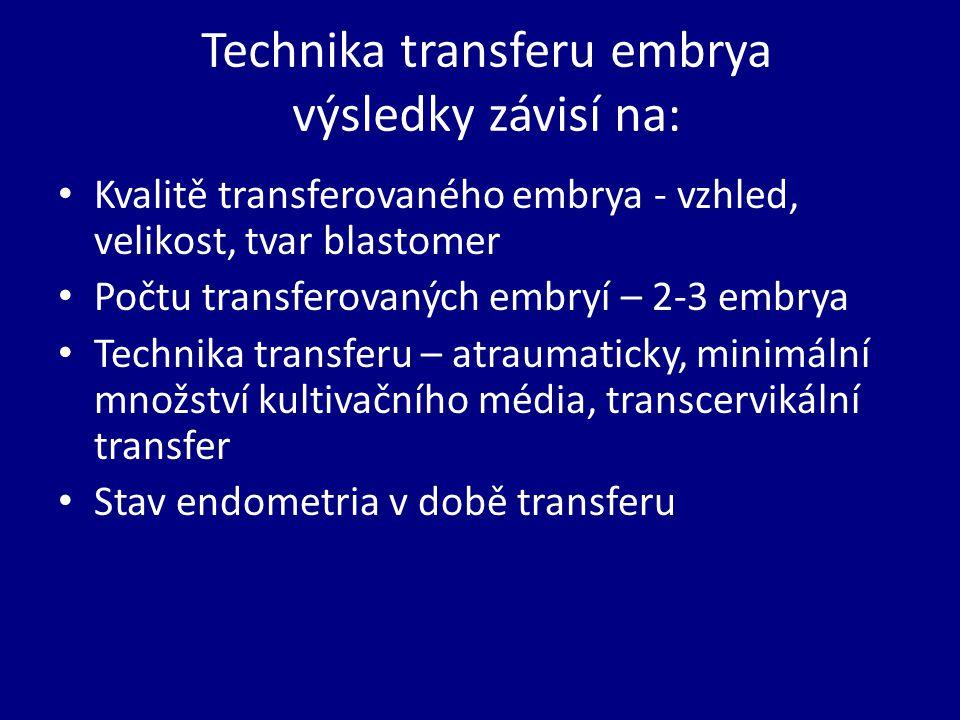 Technika transferu embrya výsledky závisí na: Kvalitě transferovaného embrya - vzhled, velikost, tvar blastomer Počtu transferovaných embryí – 2-3 embrya Technika transferu – atraumaticky, minimální množství kultivačního média, transcervikální transfer Stav endometria v době transferu