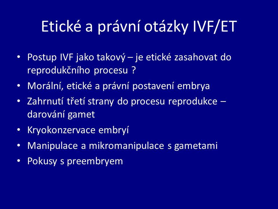 Etické a právní otázky IVF/ET Postup IVF jako takový – je etické zasahovat do reprodukčního procesu .