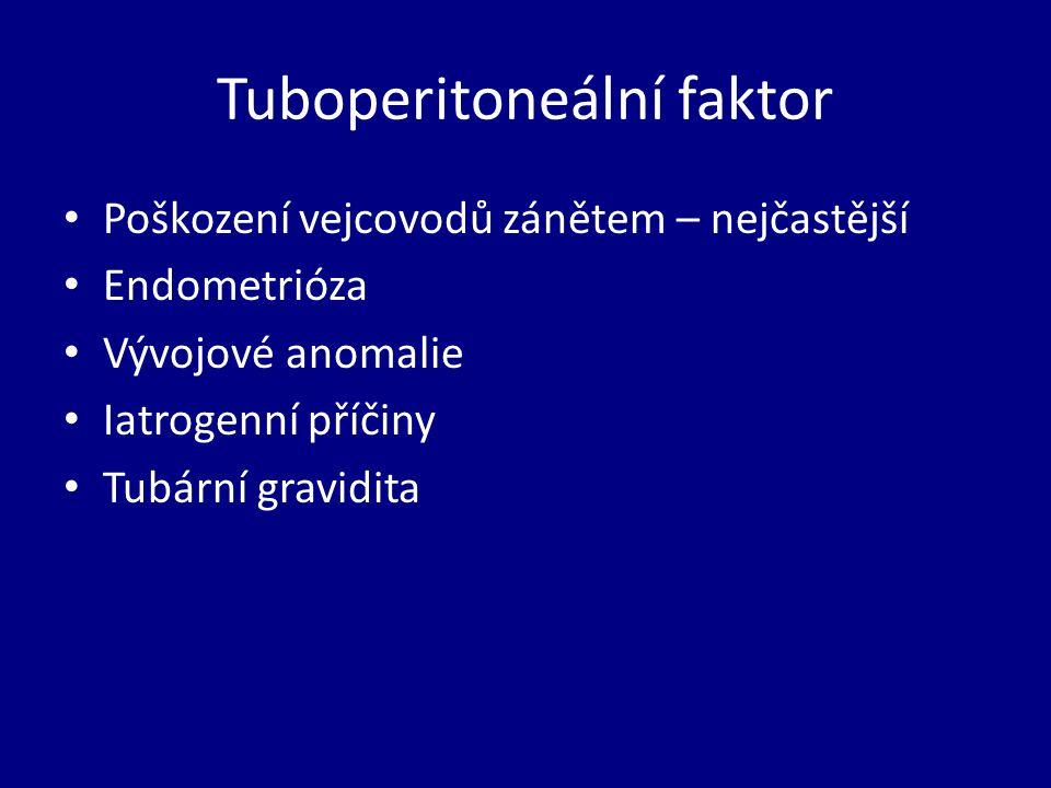 Tuboperitoneální faktor Poškození vejcovodů zánětem – nejčastější Endometrióza Vývojové anomalie Iatrogenní příčiny Tubární gravidita