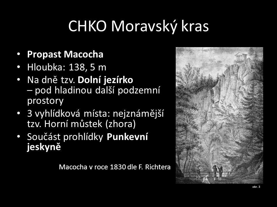 CHKO Moravský kras Propast Macocha Hloubka: 138, 5 m Na dně tzv. Dolní jezírko – pod hladinou další podzemní prostory 3 vyhlídková místa: nejznámější