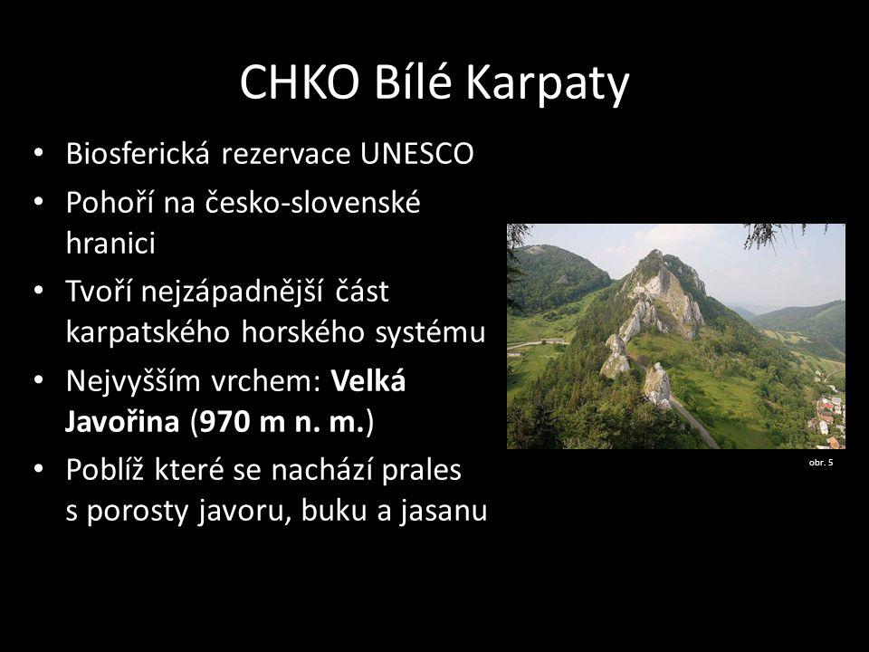CHKO Bílé Karpaty Biosferická rezervace UNESCO Pohoří na česko-slovenské hranici Tvoří nejzápadnější část karpatského horského systému Nejvyšším vrche