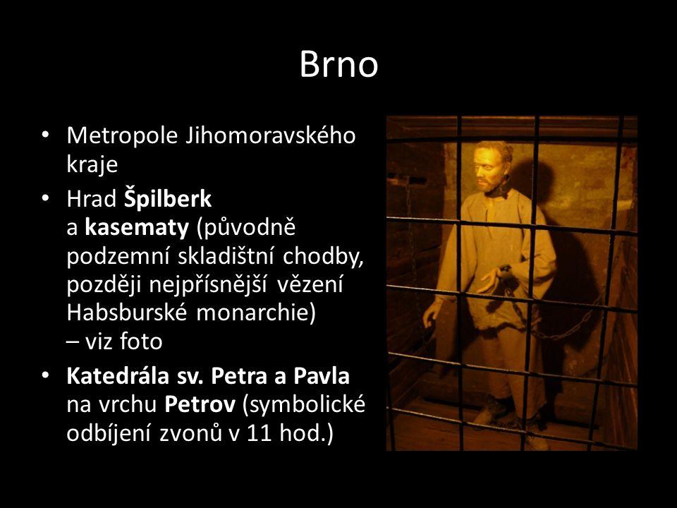 Brno Metropole Jihomoravského kraje Hrad Špilberk a kasematy (původně podzemní skladištní chodby, později nejpřísnější vězení Habsburské monarchie) –