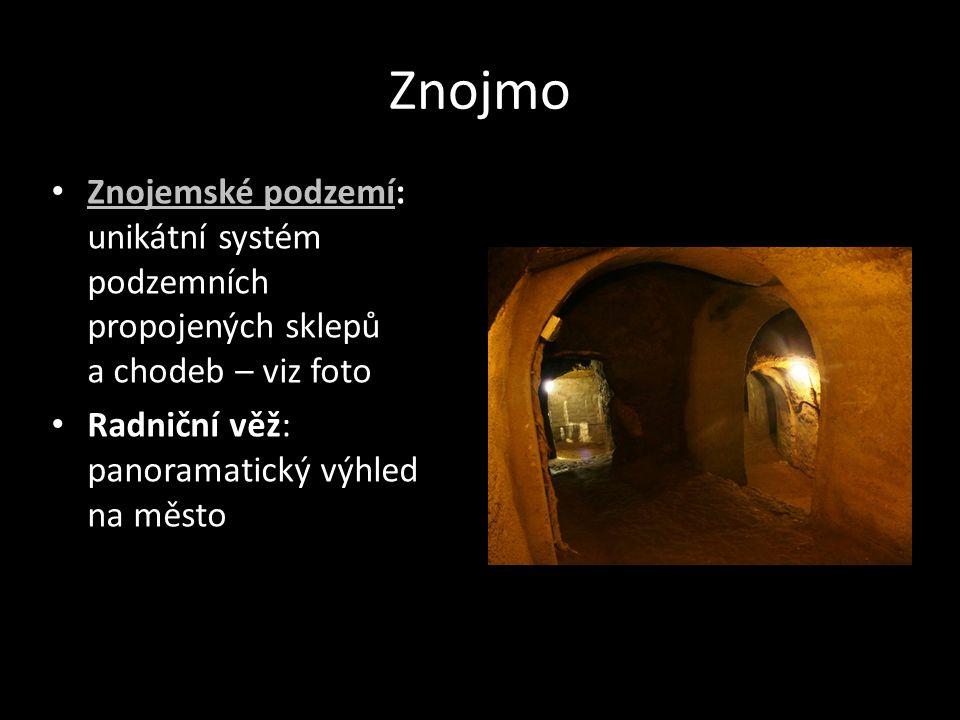Znojmo Znojemské podzemí: unikátní systém podzemních propojených sklepů a chodeb – viz foto Znojemské podzemí Radniční věž: panoramatický výhled na mě