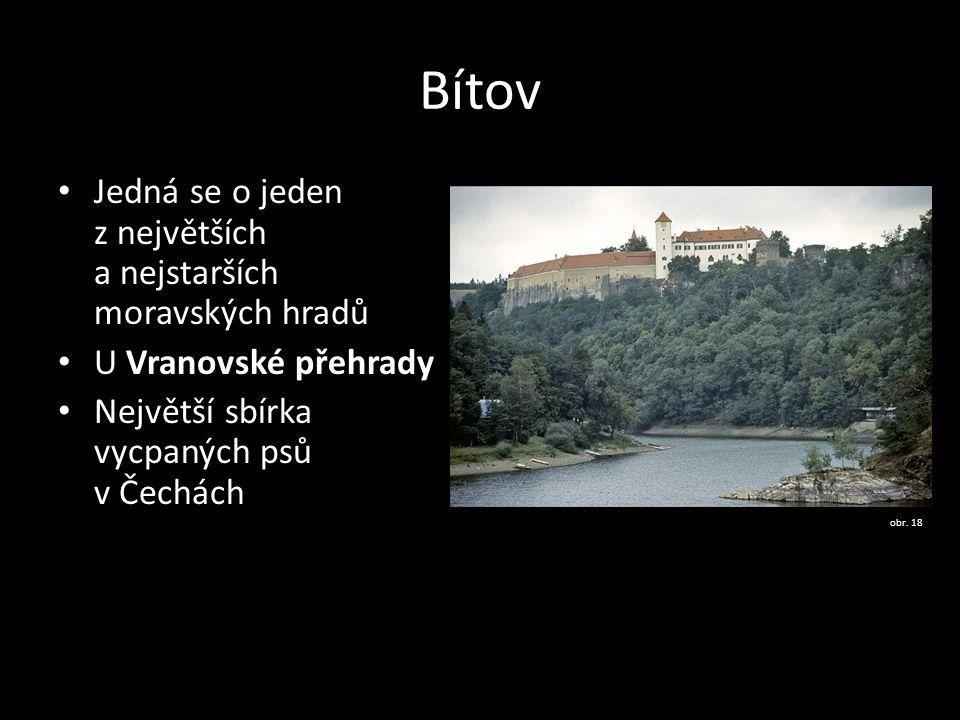 Bítov Jedná se o jeden z největších a nejstarších moravských hradů U Vranovské přehrady Největší sbírka vycpaných psů v Čechách obr. 18