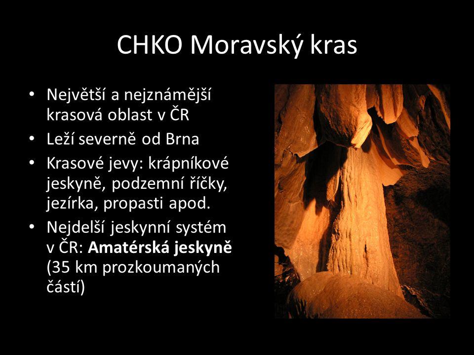 CHKO Moravský kras Největší a nejznámější krasová oblast v ČR Leží severně od Brna Krasové jevy: krápníkové jeskyně, podzemní říčky, jezírka, propasti