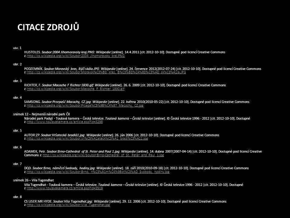 CITACE ZDROJŮ obr. 1 HUSTOLES. Soubor:2004 Jihomoravsky kraj.PNG: Wikipedie [online]. 14.4.2011 [cit. 2012-10-10]. Dostupné pod licencí Creative Commo