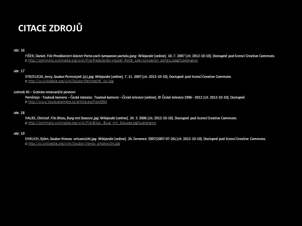 CITACE ZDROJŮ obr. 16 FIŠER, Daniel. File:Predklasteri-klaster Porta coeli-tympanon portalu.jpeg: Wikipedie [online]. 10. 7. 2007 [cit. 2012-10-10]. D