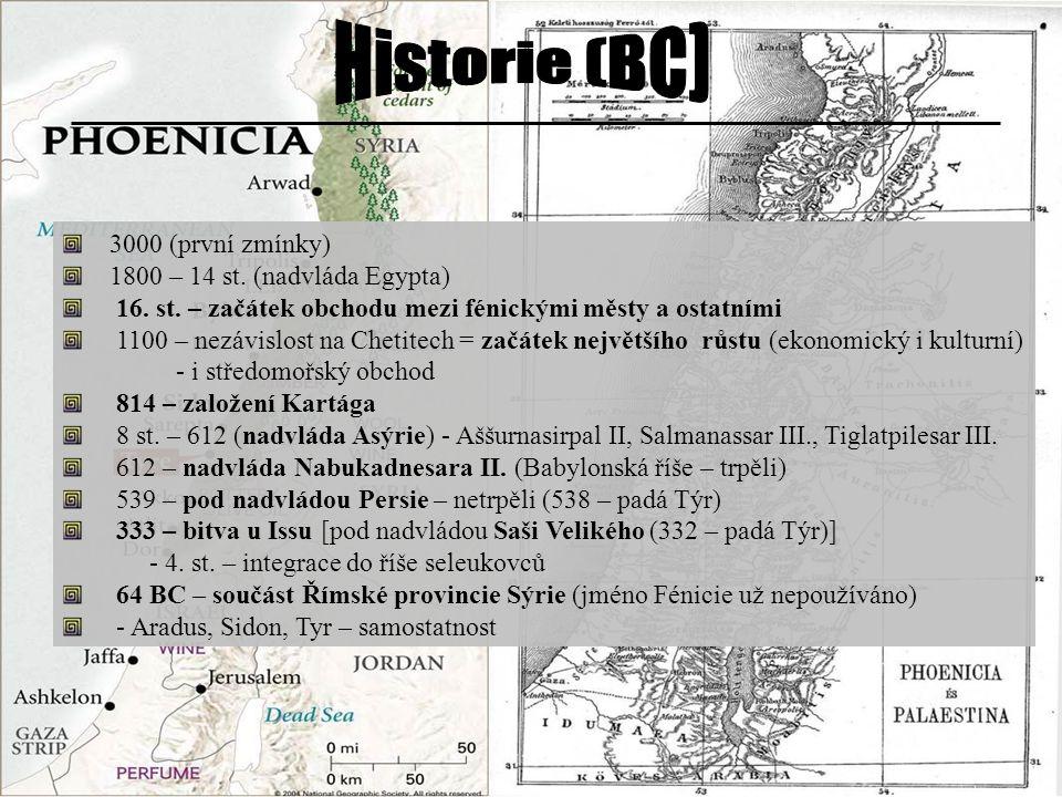 3000 (první zmínky) 1800 – 14 st. (nadvláda Egypta) 16. st. – začátek obchodu mezi fénickými městy a ostatními 1100 – nezávislost na Chetitech = začát