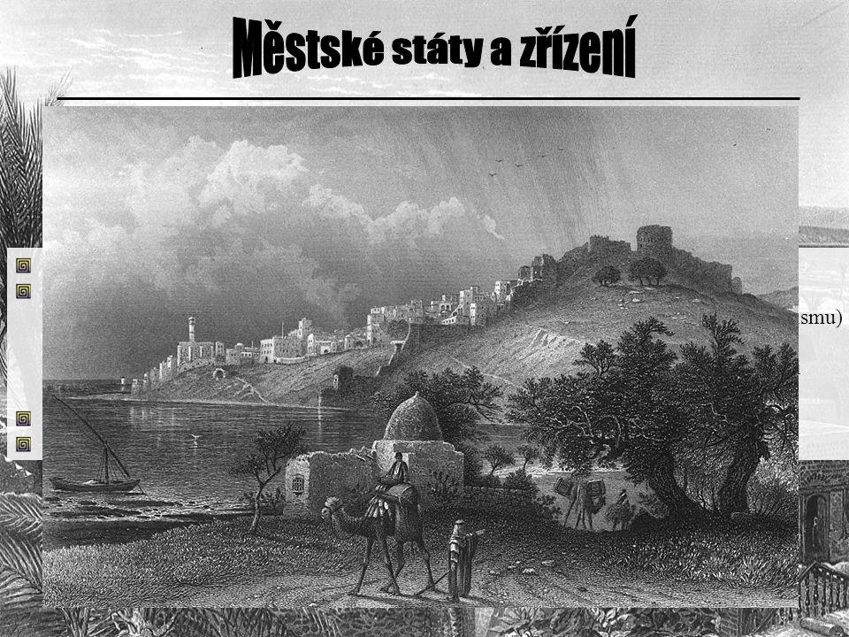 nejednotný celek = městské státy městské státy – samostatný politicky i kulturní život - zřízení měst – království (dědičná posloupnost), ojediněle re