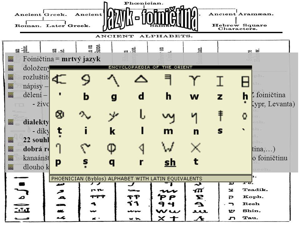 Foiničtina = mrtvý jazyk doložený epigrafickými materiály (dochovány po SZ Semitech) rozluštitel – Barthelémy (Francouz, na sklonku 18. st.) nápisy –
