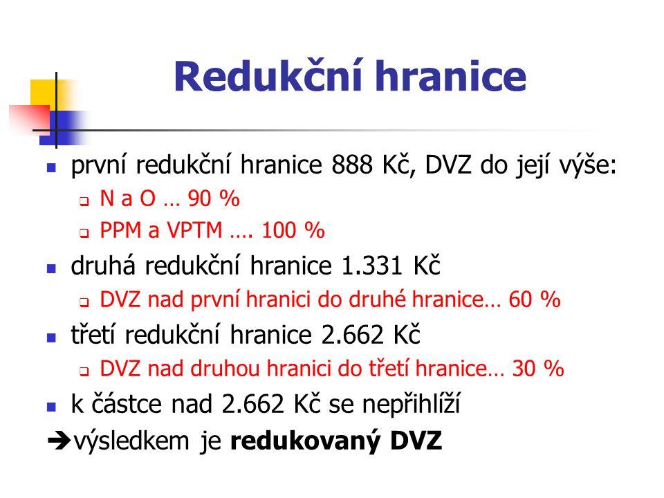 Redukční hranice první redukční hranice 888 Kč, DVZ do její výše:  N a O … 90 %  PPM a VPTM …. 100 % druhá redukční hranice 1.331 Kč  DVZ nad první