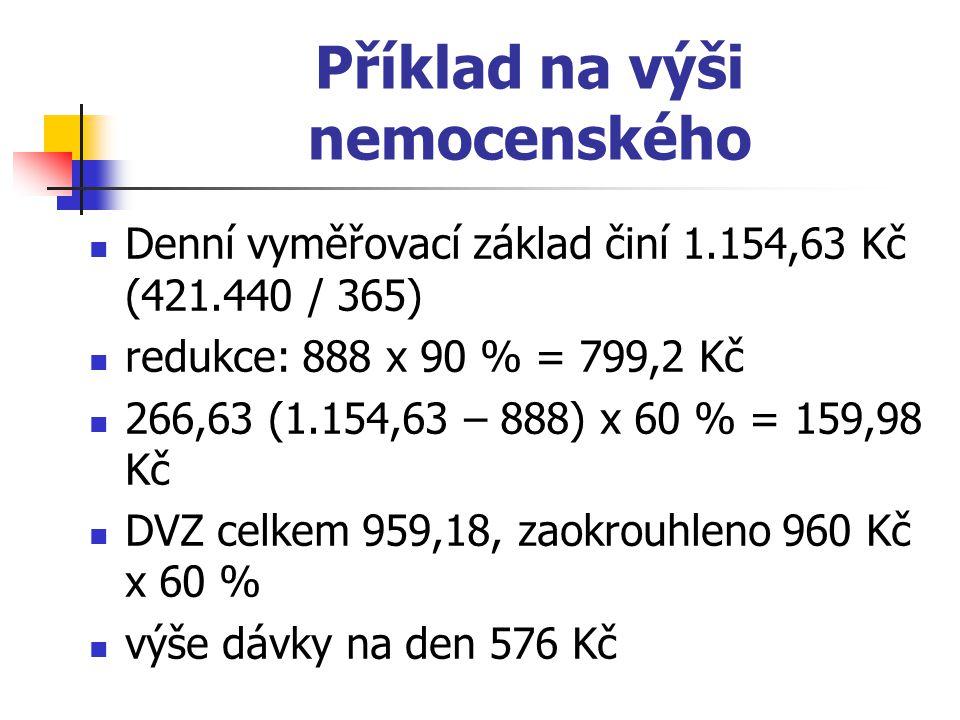 Příklad na výši nemocenského Denní vyměřovací základ činí 1.154,63 Kč (421.440 / 365) redukce: 888 x 90 % = 799,2 Kč 266,63 (1.154,63 – 888) x 60 % =