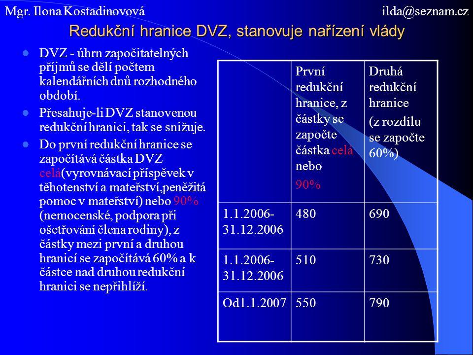 Redukční hranice DVZ, stanovuje nařízení vlády DVZ - úhrn započitatelných příjmů se dělí počtem kalendářních dnů rozhodného období. Přesahuje-li DVZ s