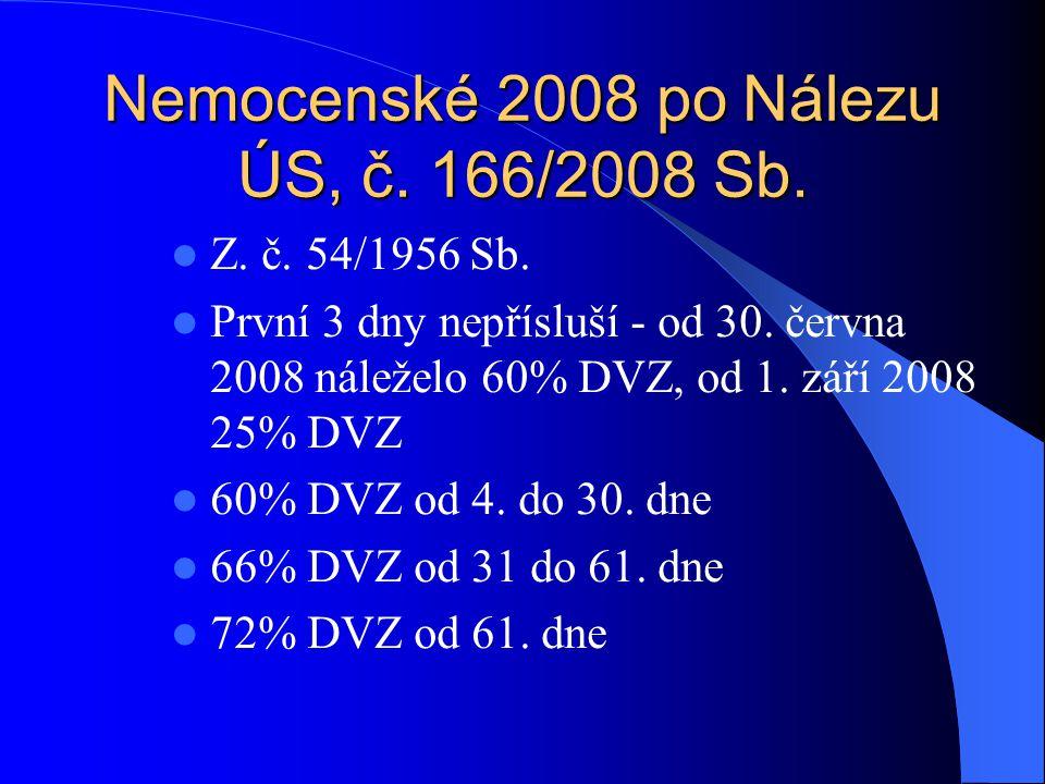Nemocenské 2008 po Nálezu ÚS, č. 166/2008 Sb. Z. č. 54/1956 Sb. První 3 dny nepřísluší - od 30. června 2008 náleželo 60% DVZ, od 1. září 2008 25% DVZ