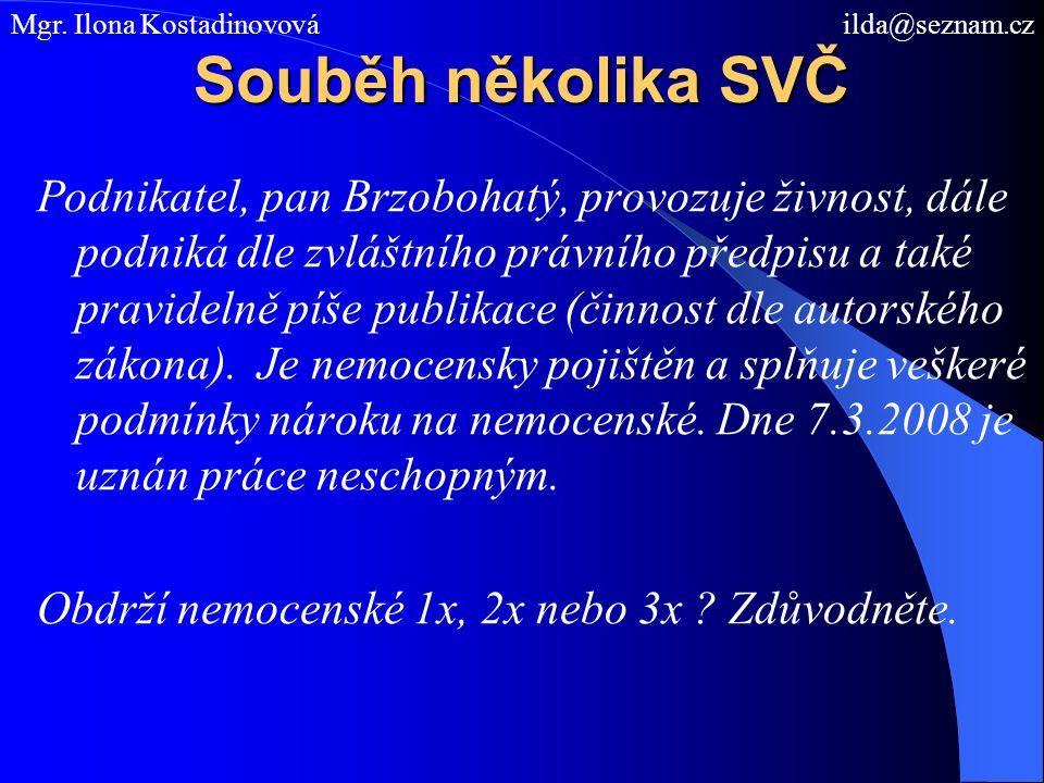 Souběh několika SVČ Podnikatel, pan Brzobohatý, provozuje živnost, dále podniká dle zvláštního právního předpisu a také pravidelně píše publikace (čin