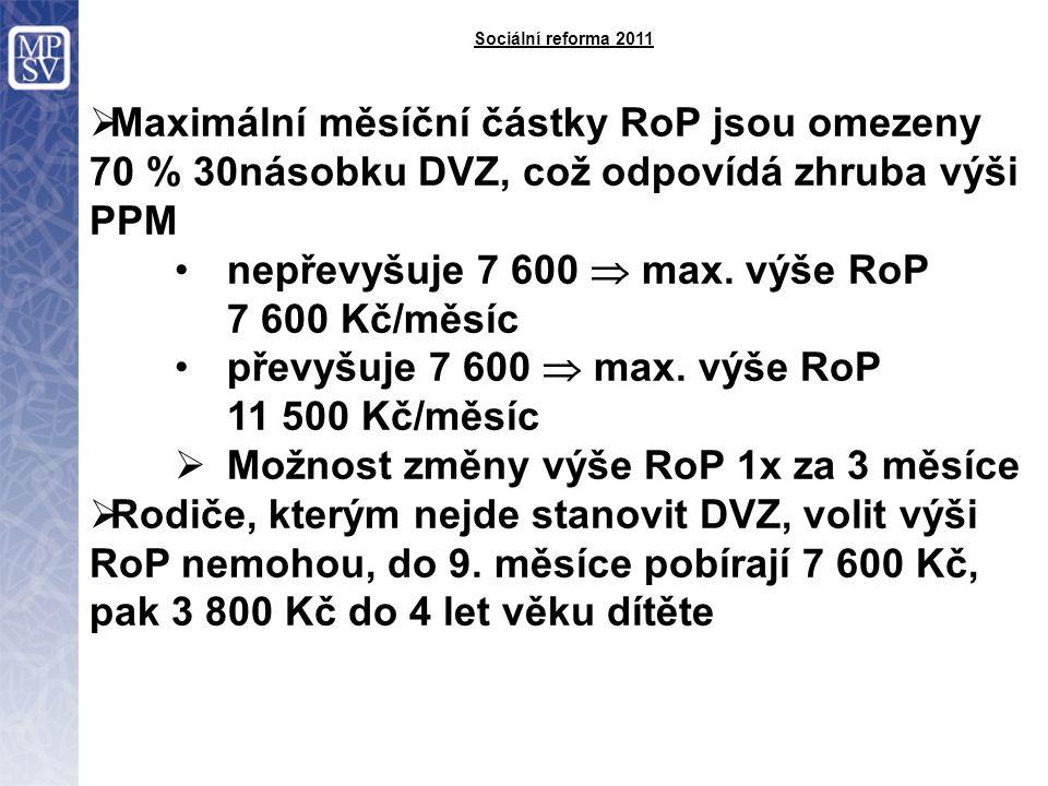 Sociální reforma 2011  Maximální měsíční částky RoP jsou omezeny 70 % 30násobku DVZ, což odpovídá zhruba výši PPM nepřevyšuje 7 600  max.