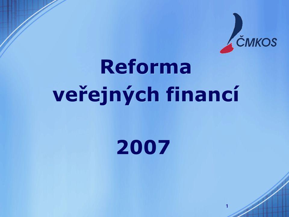 1 Reforma veřejných financí Reforma veřejných financí 2007
