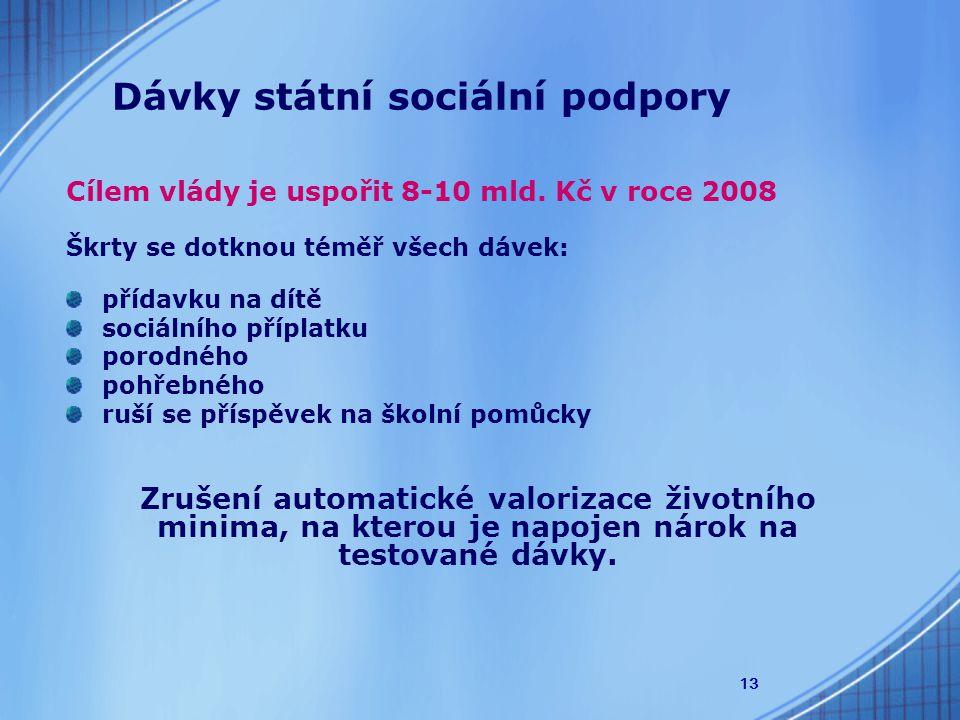13 Dávky státní sociální podpory Cílem vlády je uspořit 8-10 mld.