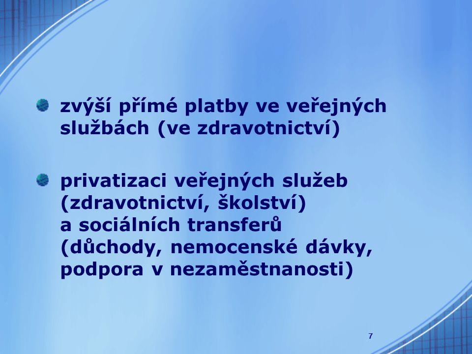 7 zvýší přímé platby ve veřejných službách (ve zdravotnictví) privatizaci veřejných služeb (zdravotnictví, školství) a sociálních transferů (důchody, nemocenské dávky, podpora v nezaměstnanosti)
