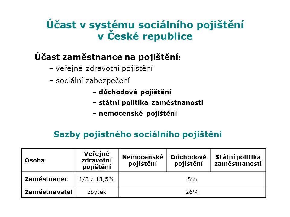 Účast v systému sociálního pojištění v České republice Účast zaměstnance na pojištění : – veřejné zdravotní pojištění – sociální zabezpečení – důchodo