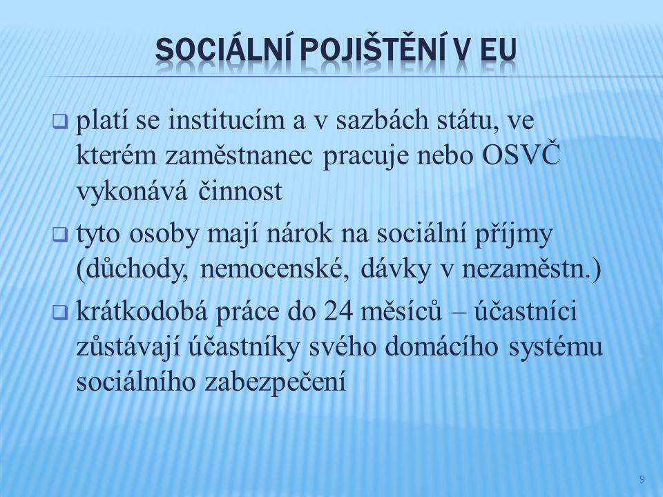  platí se institucím a v sazbách státu, ve kterém zaměstnanec pracuje nebo OSVČ vykonává činnost  tyto osoby mají nárok na sociální příjmy (důchody, nemocenské, dávky v nezaměstn.)  krátkodobá práce do 24 měsíců – účastníci zůstávají účastníky svého domácího systému sociálního zabezpečení 9
