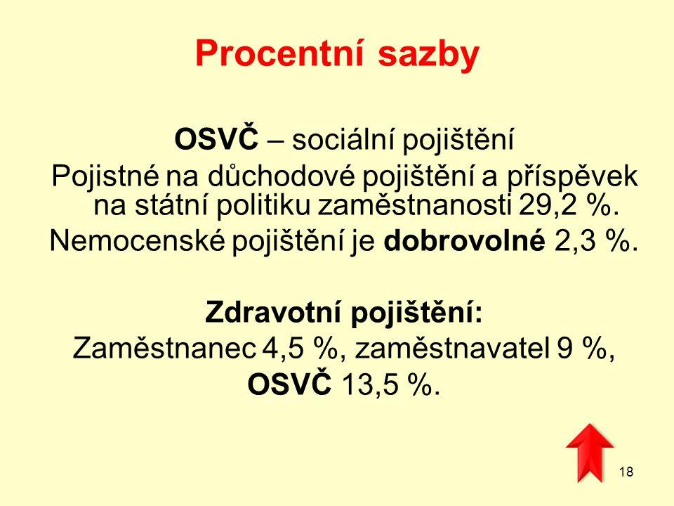 Procentní sazby OSVČ – sociální pojištění Pojistné na důchodové pojištění a příspěvek na státní politiku zaměstnanosti 29,2 %. Nemocenské pojištění je