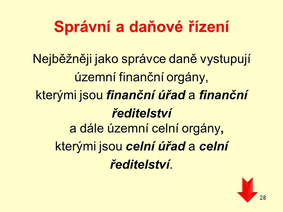 Správní a daňové řízení Nejběžněji jako správce daně vystupují územní finanční orgány, kterými jsou finanční úřad a finanční ředitelství a dále územní