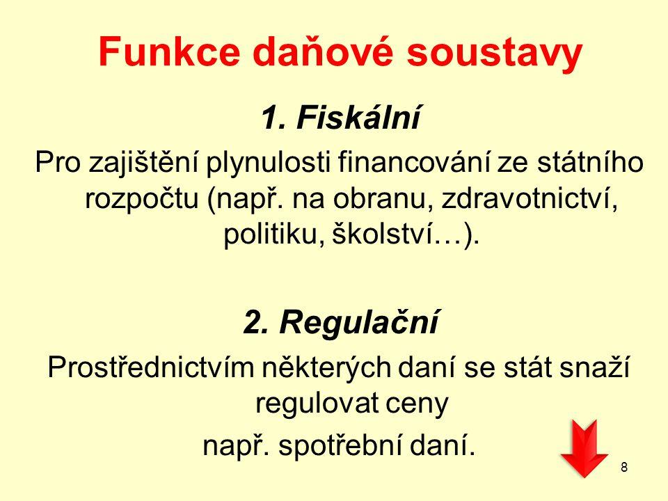Funkce daňové soustavy 1.Fiskální Pro zajištění plynulosti financování ze státního rozpočtu (např.