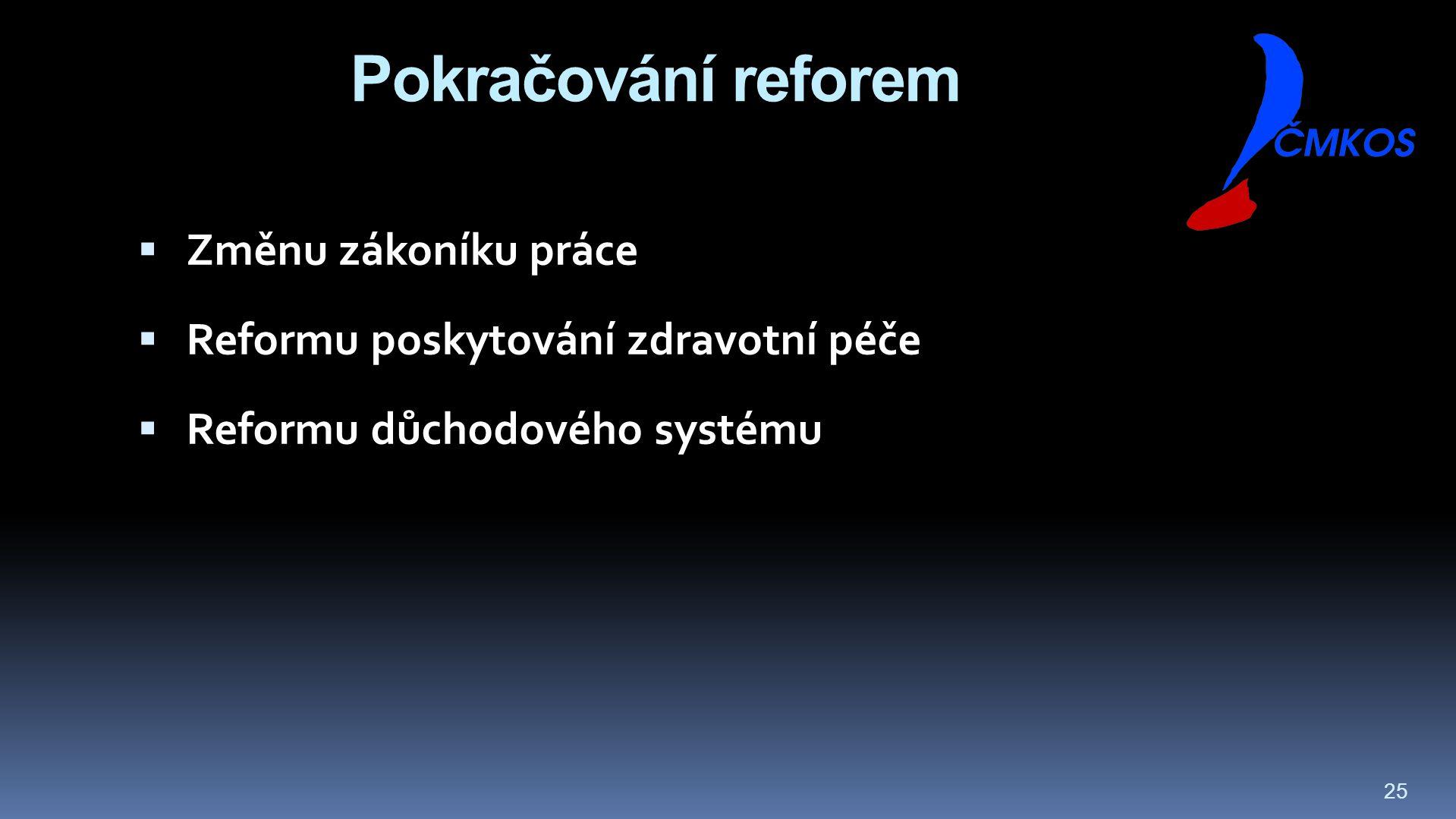 25 Pokračování reforem  Změnu zákoníku práce  Reformu poskytování zdravotní péče  Reformu důchodového systému