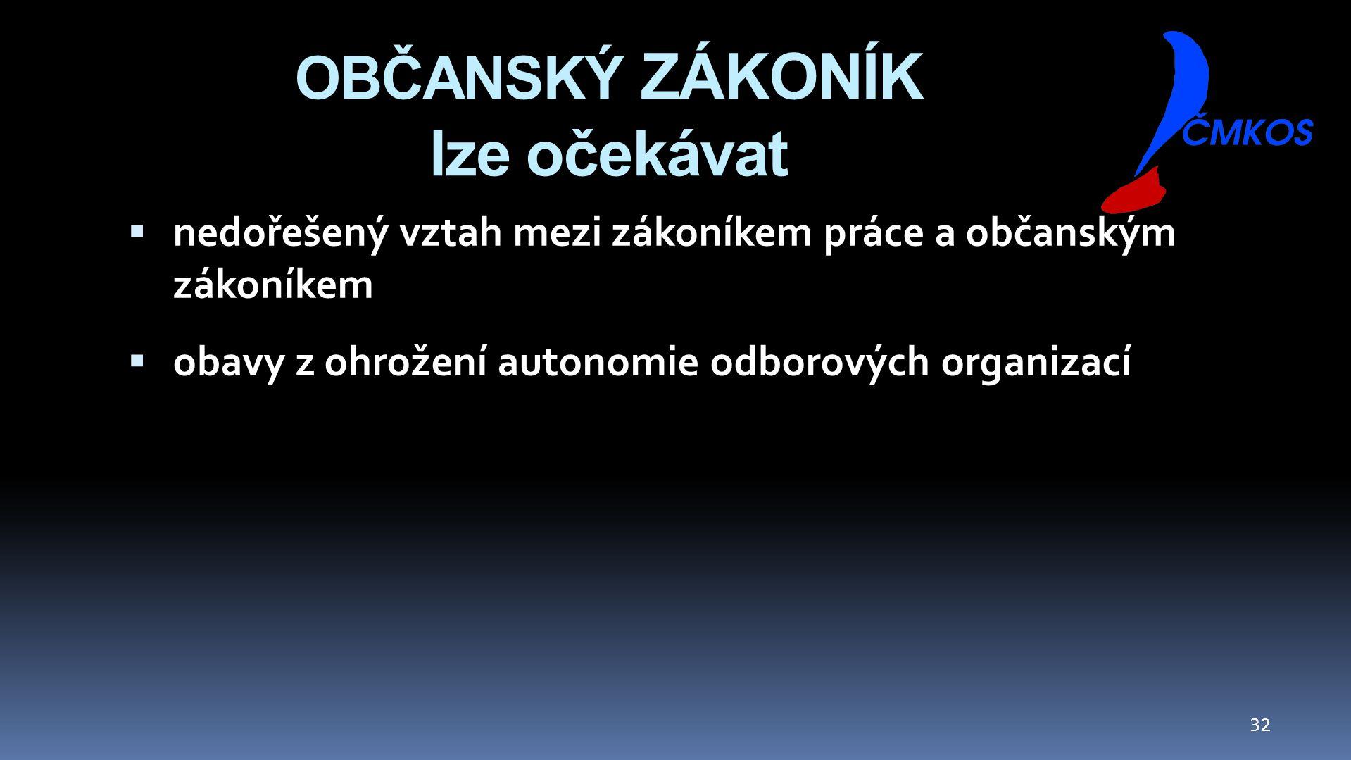OBČANSKÝ ZÁKONÍK lze očekávat  nedořešený vztah mezi zákoníkem práce a občanským zákoníkem  obavy z ohrožení autonomie odborových organizací 32