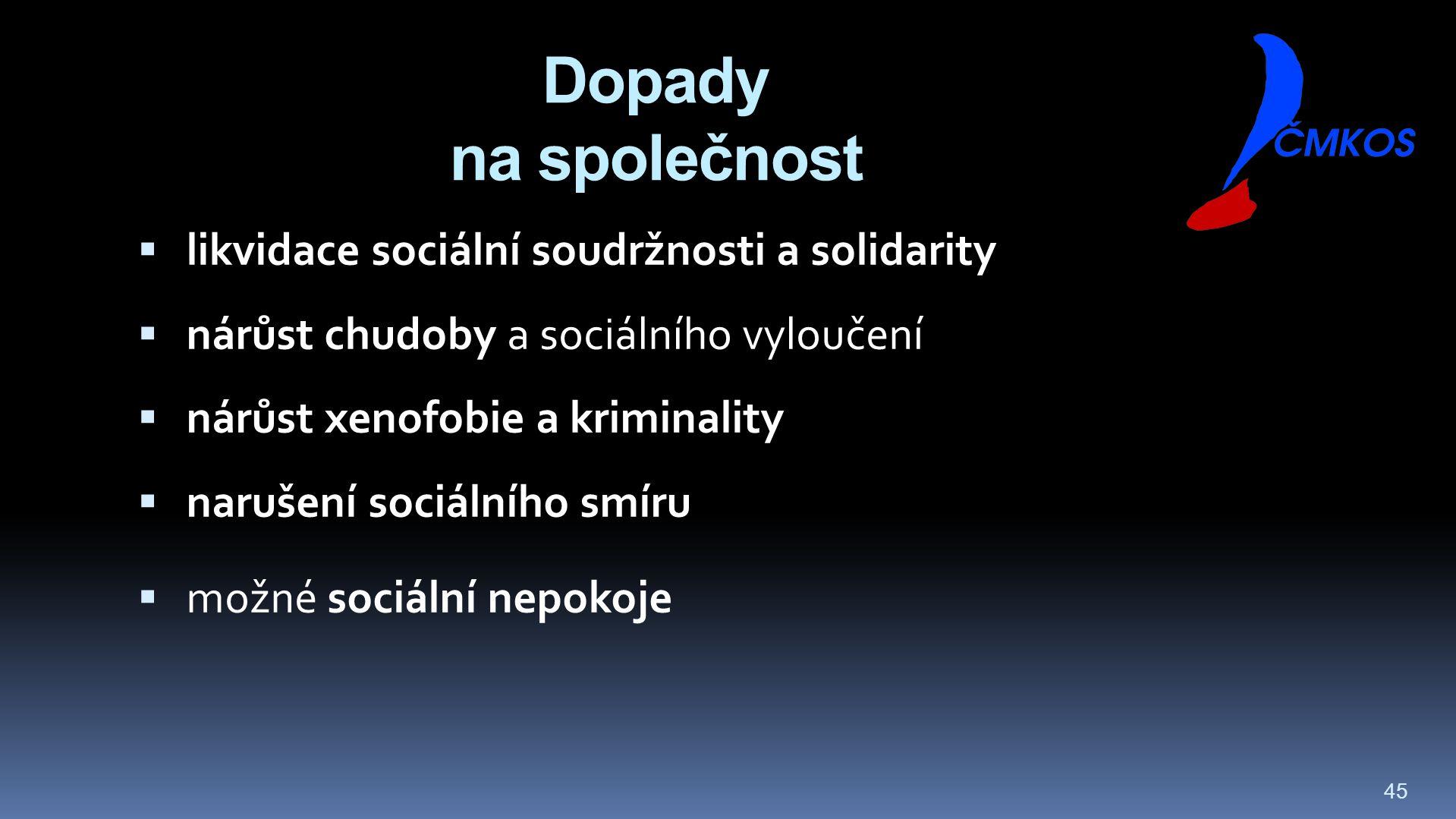 45 Dopady na společnost  likvidace sociální soudržnosti a solidarity  nárůst chudoby a sociálního vyloučení  nárůst xenofobie a kriminality  narušení sociálního smíru  možné sociální nepokoje