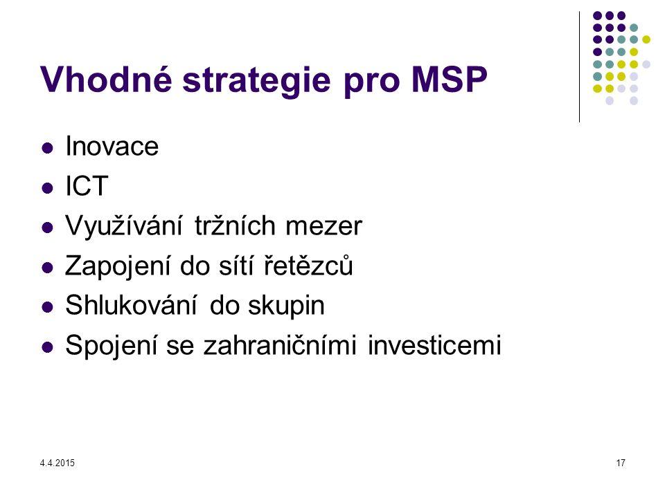 4.4.201517 Vhodné strategie pro MSP Inovace ICT Využívání tržních mezer Zapojení do sítí řetězců Shlukování do skupin Spojení se zahraničními investicemi