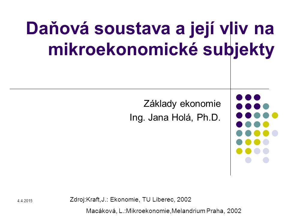 4.4.2015 Daňová soustava a její vliv na mikroekonomické subjekty Základy ekonomie Ing.