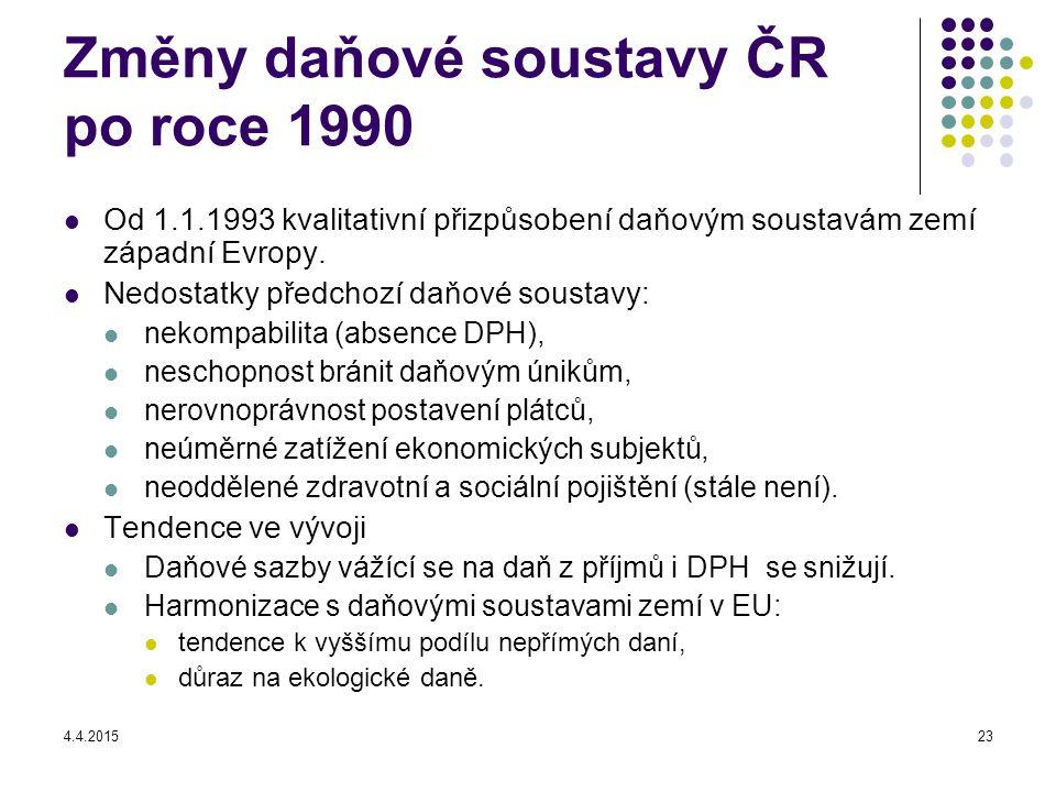 4.4.201523 Změny daňové soustavy ČR po roce 1990 Od 1.1.1993 kvalitativní přizpůsobení daňovým soustavám zemí západní Evropy.