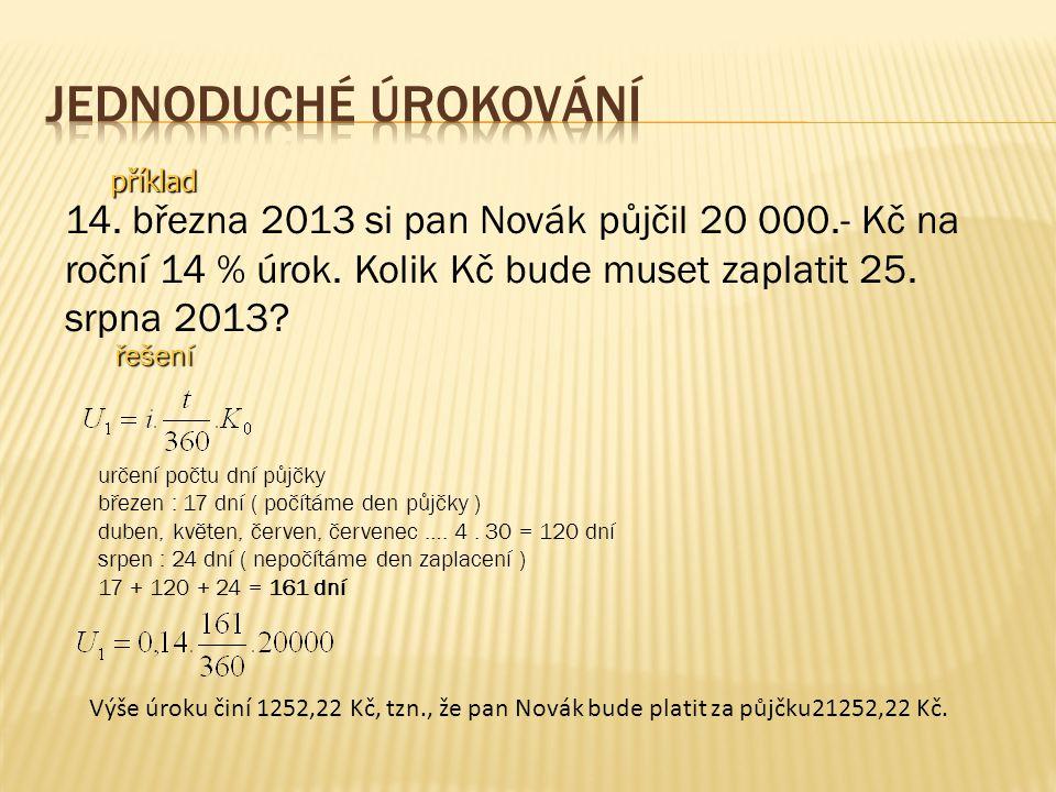 příklad 14. března 2013 si pan Novák půjčil 20 000.- Kč na roční 14 % úrok.