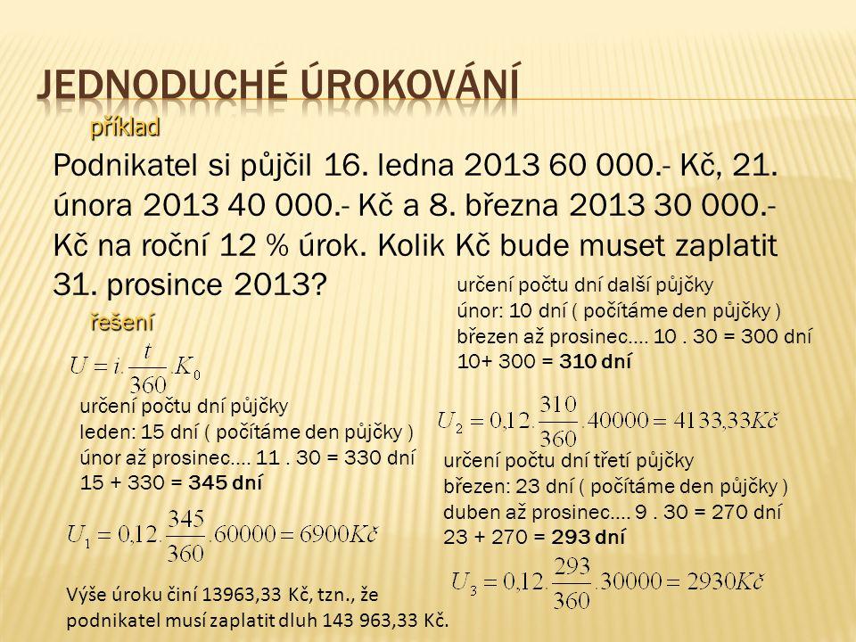příklad Podnikatel si půjčil 16. ledna 2013 60 000.- Kč, 21.