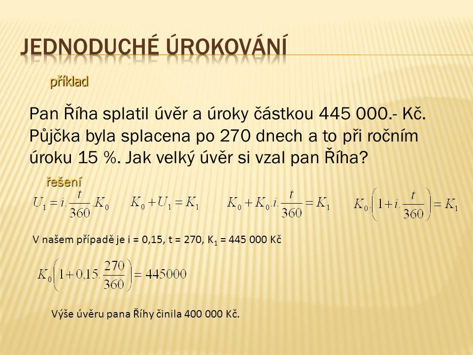 příklad Pan Říha splatil úvěr a úroky částkou 445 000.- Kč.
