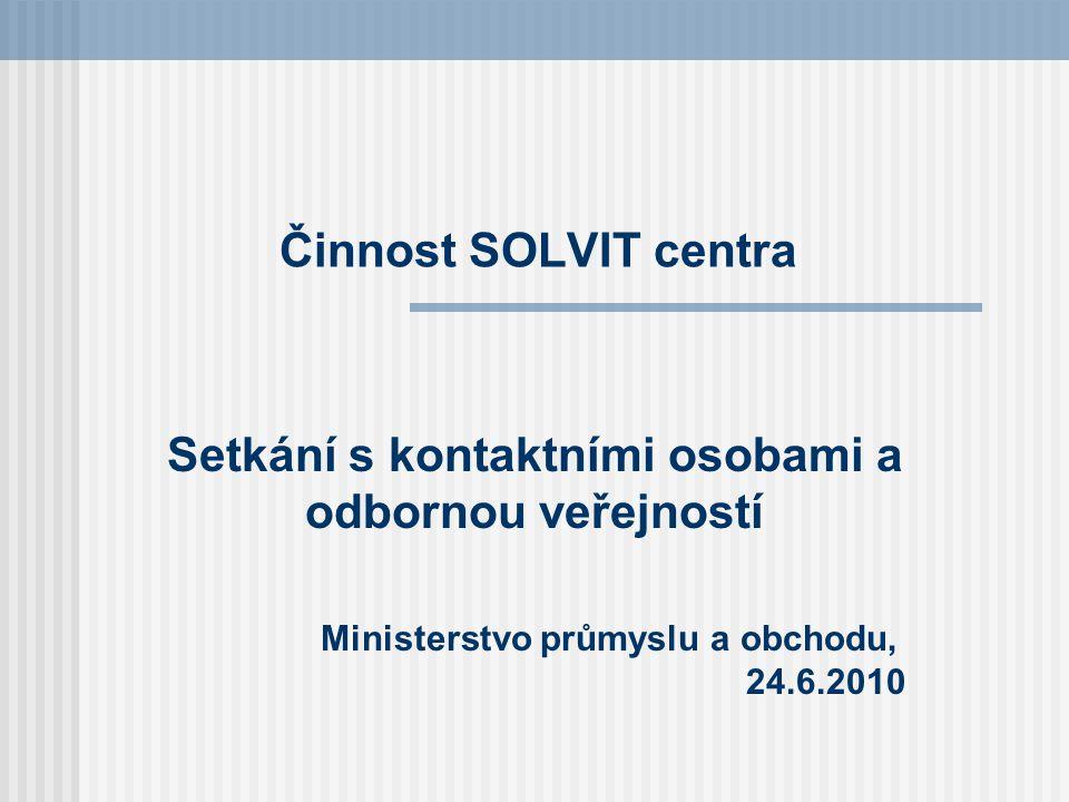 Činnost SOLVIT centra Setkání s kontaktními osobami a odbornou veřejností Ministerstvo průmyslu a obchodu, 24.6.2010