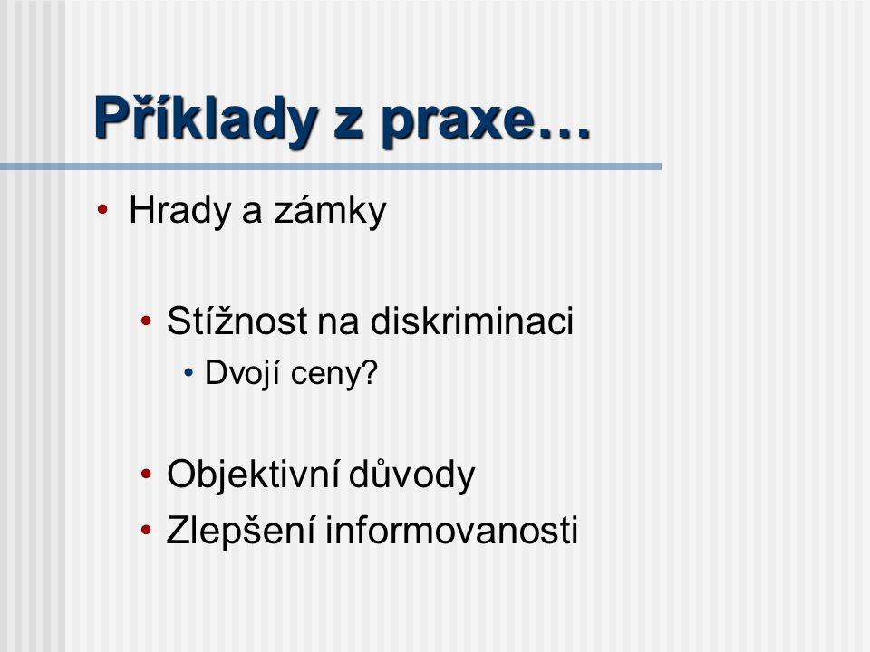 Příklady z praxe… Hrady a zámky Stížnost na diskriminaci Dvojí ceny.